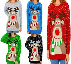 Womens Christmas Jumper Rudolph Pom Pom Nose Ladies Sweater Knitted Xmas Top UK