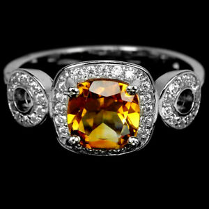 NATURAL AAA ORANGISH YELLOW CITRINE & WHITE CZ STERLING 925 SILVER RING 7.25
