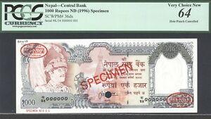 Nepal, 1000 Rupees, P36ds, Specimen, Thomas De La Rue # 001, Choice Unc., PCGS64