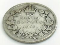 1918 Canada 10 Ten Cent Silver Dime Canadian Circulated George V Coin J334