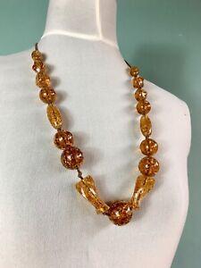 Vintage Necklaces Costume Jewellery Statement Blogger Amber Crackle Bead Retro