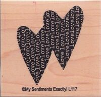 """2 hearts my sentiments exactly Wood Mounted Rubber Stamp 2 x 2"""" Free Shipping"""