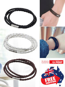 New Fashion Men Women Three Laps PU Leather Bracelet Wristband Bangle Punk 1pc