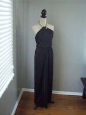 Women's BCBG Black Edith Gold Chain Halter Gown Evening Formal Dress Size 0