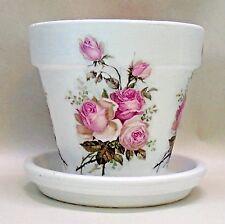 "Handmade Decoupage Terra Cotta Indoor Flower Pot, Pink Roses. 5.5"""