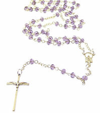 Handmade 6mm purple faceted glass rosary beads Miraculous Virgin Mary in bag