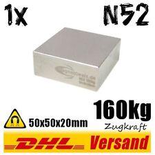 Neodym Super Rare Earth Magnet 50x50x20mm 5x5x2cm N52 160kg starker Dauermagnet
