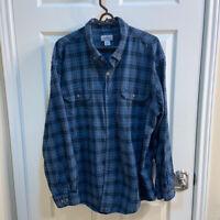 Carhartt Plaid Flannel Shirt 3XL XXXL Mens Blue Button Front Cotton Mid Weight