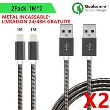 LOT-2 CHARGEUR METAL CABLE USB RENFORCE POUR IPHONE X 8 7 6 5 SE PLUS LIGHTNING