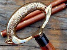Brass Handle Victorian Design Wooden Walking Cane Stick Vintage Accessories
