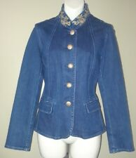 Oscar an Oscar De La Renta Company Jean jacket gold button sequin collar size 6