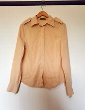 Scanlan theodore womens 12 size orange white stripe long sleeve button up shirt