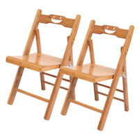 Foldable 2 PCS Bamboo Wood Wooden Folding Chair Garden Camping Picnic Stool NEW