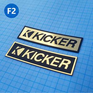 2 x KICKER- METALLIC Case Logo Sticker Badge - 2.75 inch/1 inch - 70 mm/20 mm