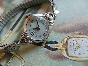 Very Clean 1950's Lady's Lady Hamilton 14k Gold & Diamond Lug 22J Cocktail Watch