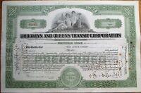'Brooklyn & Queens Transit Corporation' 1936 Trolley/Railroad Stock Certificate