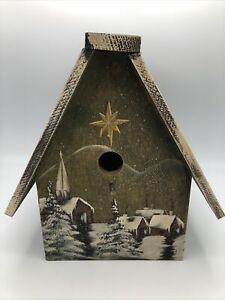 Birdhouse Santa & Sleigh Snowy Village Scene Roof Flap Opening Perfect Treat Box