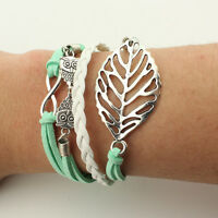 ✧Jewelry fashion Leather Cute Infinity Charm Bracelet Silver lots Style Pick✧