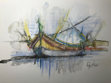 Luzzu Malta Fishing Boat Watercolour Print