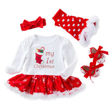 Baby Girl 1st Christmas Outfits Clothes Toddler Xmas Romper Dress Shoes Set 4PCS