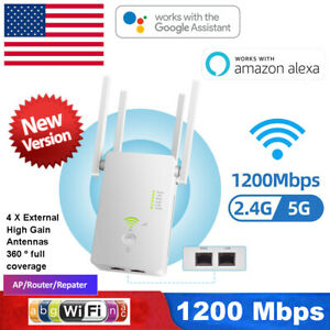 2.4G/5G Dual Band WiFi Repeater 1200Mbps WIFI Range Extender Wifi Signal Booster