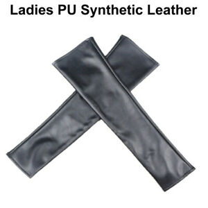 Women Girls Synthetic Leather Fingerless Ladies Long Sleeve Elbow Driving Gloves