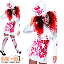 Zombie Bloody Chef Ladies Halloween Fancy Dress Cook Costume Outfit UK 10 12 14