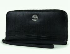 Timberland Womens Leather Wallet RFID Protection Zip Around Clutch Black