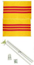 3x5 South Vietnam Vietnamese 2ply Flag White Pole Kit Set 3'x5'