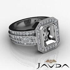 Diamond Anniversary Ring 14k W Gold Emerald Shape Semi Mount Halo Pave 1.62Ct