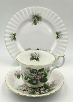 Royal Albert Mayflower Bone China Footed Teacup Saucer & Dessert Plate Trio