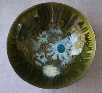 ENAMEL on COPPER BOWL - Sasha Brastoff - BLUE FLOWERS on OLIVE GREEN - 6 3/4""
