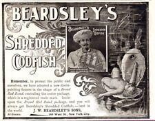 Antique Ad Food Beardsley's Shredded Codfish Unusual child in shell mermaid old