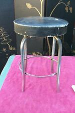 Stool Black Chrome Modern 1950's Royal Metal Vintage Antique Mid Century