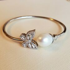 Genuine Pearl Bangle bracelet 2.5 inches Diameter