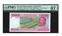 Central African States PMG Certified Banknote UNC 67 EPQ Gem 2002 2000 Francs