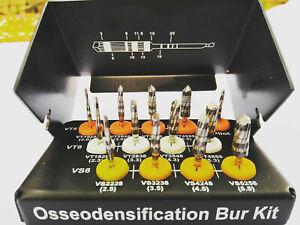 DEN SAH VER SAH OSSEODENSIFICATION DENTAL IMPLANT DRILLS 13 PCS SILVER BURRS