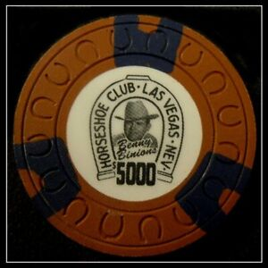 """HARD TO FIND / Vintage 1980's """"Binion's Horseshoe Club"""" $5000.00 Chip"""