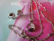 925 Silber-Schmuck Set- Mond Zirkon- Halskette Anhänger Ohrstecker,-Geschenk