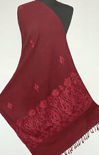 Dark Red-on-Red Crewel Embroidered Wool Shawl. Kashmiri Embroidery. Burgundy