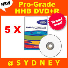 5 x NEW HHB DVD+R 4.7GB-Plus Pro-Grade Recordable DVD Blank Discs