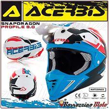 ACERBIS CASCO PROFILE 3.0 SNAPDRAGON MOTOCROSS OFFROAD BIANCO/BLU OPACO TG. L