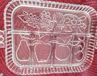 Vintage Indiana Glass Fruit Garland Happenings 5 Section Relish Tray Plate