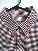 Orvis Mens LT Large Tall Red-Brown White Plaid Flannel Cotton Wool Button Shirt