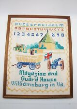 Cross Stitch Sampler Framed Williamsburg VA Magazine & Guard House Historic 15""
