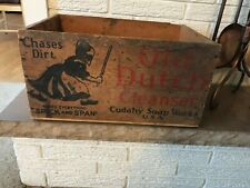 """Antique Vintage C1931 Old Dutch Cleanser Wood Crate woman """"Chase Dirt"""""""