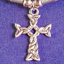 Tibetano argento croce celtica con un cavo nero collana girocollo