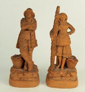 19th c. French Terracotta Pair Fisherman & Shrimp Woman Signed Eugene Blot