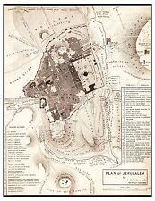 MAP ANTIQUE 1835 CATHERWOOD JERUSALEM CITY PLAN REPLICA POSTER PRINT PAM0292