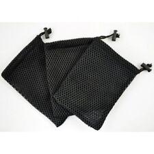 12x9cm Black Cell Phone Nylon Mesh Drawstring Pouch Bag with Stay Cord 3 Pcs